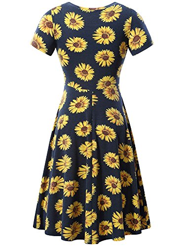 Women Casual HUHOT Round Midi Dress Sleeve Flared Flower 45 Summer Neck Short pgqqdfw