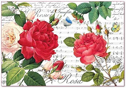 Stamperia Decoupage Rice Paper 48x33 Red roses and music