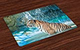 Ambesonne Tiger Place Mats Set of 4, Feline Beast in Pond Searching for Prey Sumatra Indonesia Scenes, Washable Fabric Placemats for Dining Room Kitchen Table Decor, Turquoise Pale Brown Black