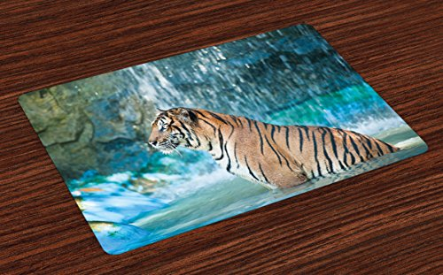 Ambesonne Tiger Place Mats Set of 4, Feline Beast in Pond Searching for Prey Sumatra Indonesia Scenes, Washable Fabric Placemats for Dining Room Kitchen Table Decor, Turquoise Pale Brown Black by Ambesonne