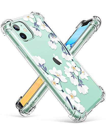 GVIEWIN iPhone 11 Case,Clear Flower Design Soft&Flexible TPU Ultra-Thin Shockproof Transparent Bumper Protective Floral Cover Case for iPhone 11 6.1 inch 2019