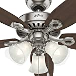 Hunter Indoor Ceiling Fan, with pull chain control - Builder Plus 52 inch, Brushed Nickel, 53237 23 Designed for large rooms up to 485 square feet and equipped with Installer's Choice 3 position mounting system for standard Can be installed with or without 180 watt three light fixture (3 60 watt candelabra bulbs included).An excellent choice for use in the home or office Whisper wind motor. Reversible motor allows you to change the direction of your fan from downdraft mode during the summer to updraft mode during the winter Exclusive Hunter motor technology and hanging system that ensure your fan will remain quiet for Life and wobble free. For indoor use only, Installer's Choice three position mounting system allows for standard, low or angled mounting
