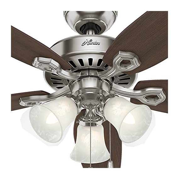 Hunter Indoor Ceiling Fan, with pull chain control - Builder Plus 52 inch, Brushed Nickel, 53237 9 Designed for large rooms up to 485 square feet and equipped with Installer's Choice 3 position mounting system for standard Can be installed with or without 180 watt three light fixture (3 60 watt candelabra bulbs included).An excellent choice for use in the home or office Whisper wind motor. Reversible motor allows you to change the direction of your fan from downdraft mode during the summer to updraft mode during the winter Exclusive Hunter motor technology and hanging system that ensure your fan will remain quiet for Life and wobble free. For indoor use only, Installer's Choice three position mounting system allows for standard, low or angled mounting