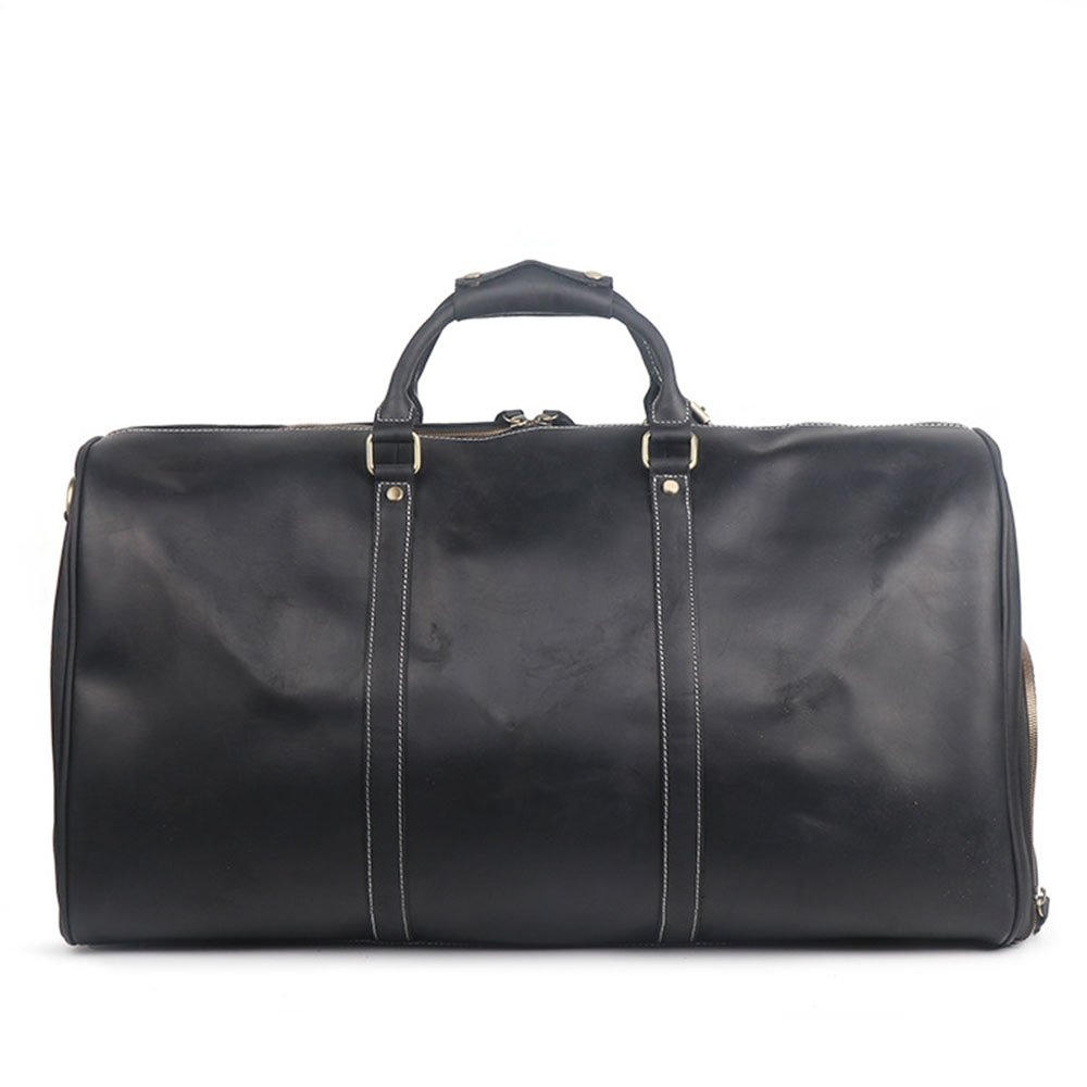 Color : Black Ybriefbag Unisex Mens Business Trip Duffel Bag Black Leather Large-Capacity Portable Travel Bag Sports Gym Bag Vacation