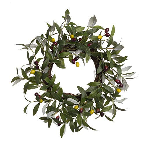 PINE AND PAINT LLC Olive Wreath Artificial 18 Inches Natural Twig Base