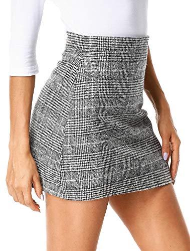 - UUANG Women's Basic Stretch Plaid Mini Bodycon Pencil Skirt (Grey,XL)