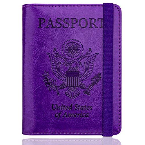 WALNEW RFID Passport Holder Cover Traveling Passport Case (Purple)