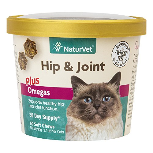 NaturVet - Hip & Joint for Cats Plus Omegas - 60 Soft Chews - Help Supports Healthy Hip & Joint Function - Enhanced with Antioxidants, Omega-3 & 6 Fatty Acids - Joint Hip Cat