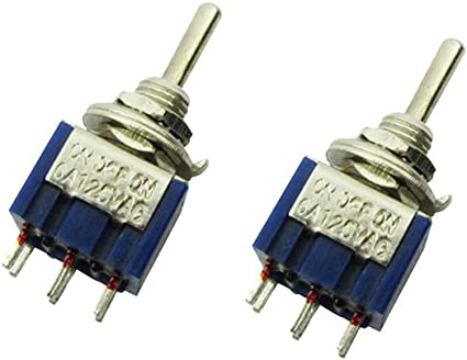 Blue Mini SPDT Guitar Toggle Switch 6pin 6A 125V ON-ON sold as a single item
