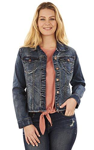 Angels Jeans Women's Signature Denim Jacket, Steel, XL