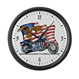 Large Wall Clock Motorcycle Eagle and US Flag