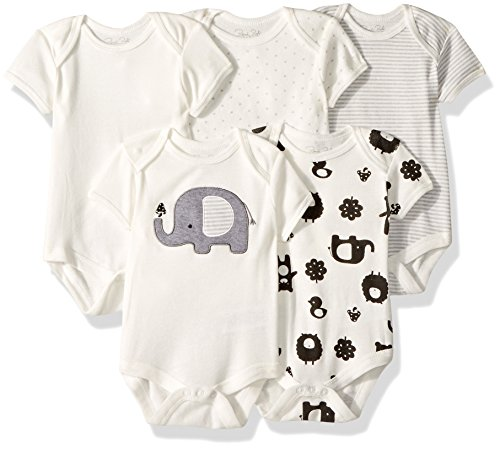 - Rene Rofe Baby Baby Collection Unisex 5 5-Pack Bodysuits, Elephant, 6-9 Months