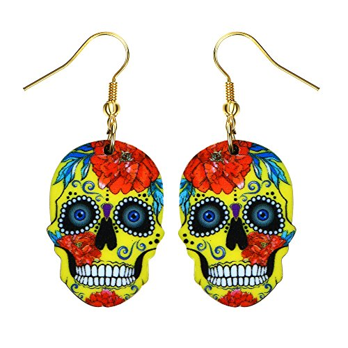 Liavy's Day of the Dead Sugar Skull Fashionable Earrings - Acrylic - Fish Hook - Yellow (Earring Yellow Fish)