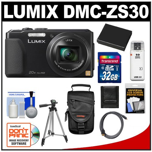 Panasonic Lumix DMC-ZS30 Wi-Fi Digital Camera (Black) with 32GB Card + Battery + Case + Tripod + Accessory Kit