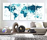 Original by BoxColors XLARGE 30''x 70'' 5 Panels 30''x14'' Ea Art Canvas Print Watercolor Map World Countries Cities Push Pin Travel Wall color Blue decor Home interior (framed 1.5'' depth)