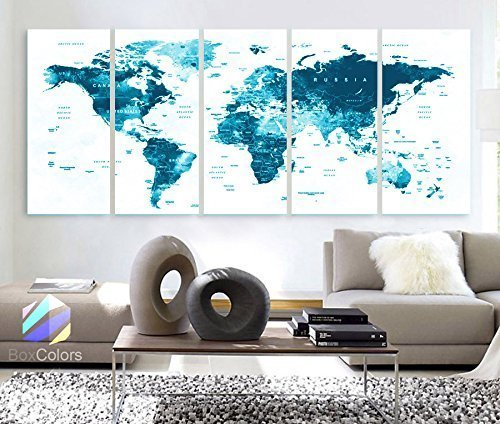 Original by BoxColors XLARGE 30''x 70'' 5 Panels 30''x14'' Ea Art Canvas Print Watercolor Map World Countries Cities Push Pin Travel Wall color Blue decor Home interior (framed 1.5'' depth) by BoxColors
