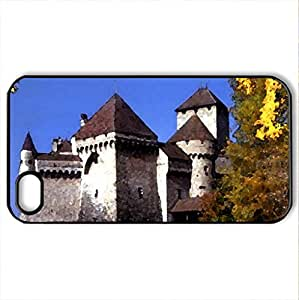 Chateau de Chillon-Montreux-Switzerland - Case Cover for iPhone 4 and 4s (Medieval Series, Watercolor style, Black) by icecream design