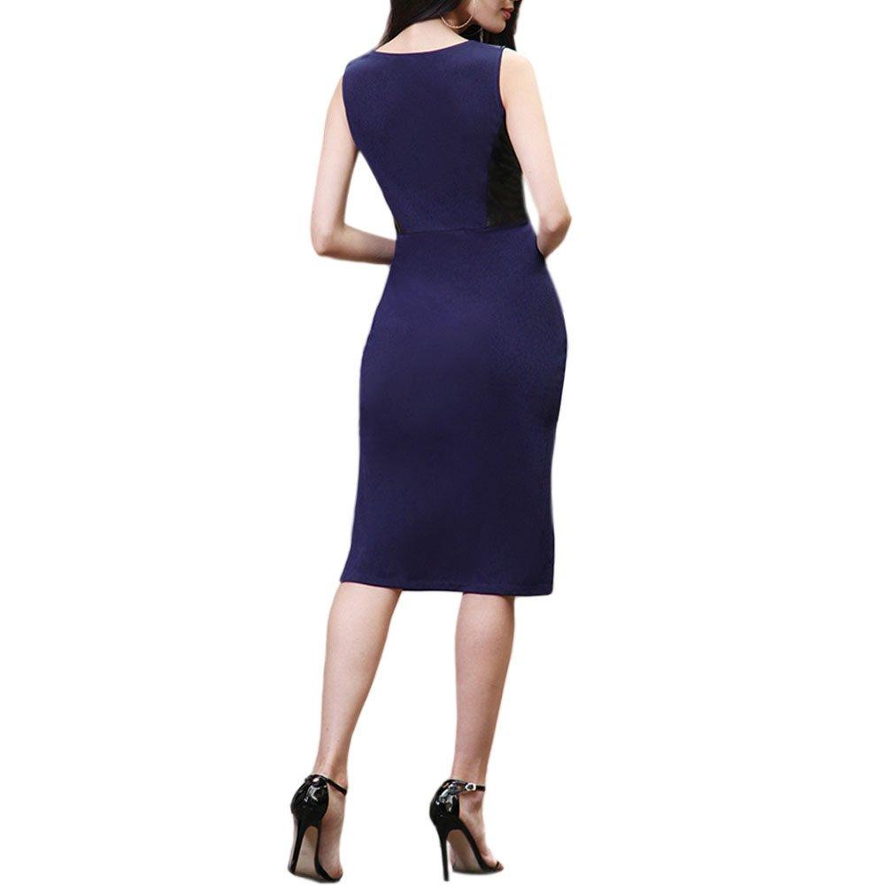 Zhuhaixmy Damen Slim Midi Kleid Runden Hals Ärmellos PU-Leder Spleißen  Gemischt Farbe Rock: Amazon.de: Bekleidung