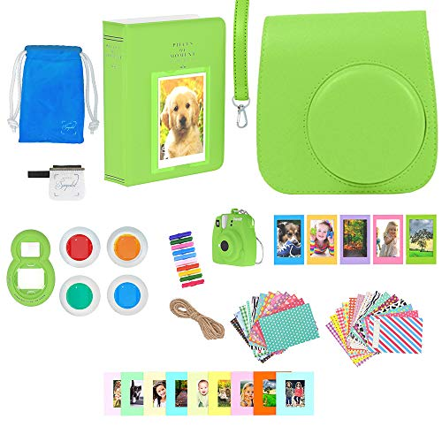 9 Camera Accessories - 16 Piece Kit Includes: Lime Protective Case + Strap, Photo Albums, Keychain, Emoji Stickers, Hanging Frames, Selfie Lens, Gift Box ()
