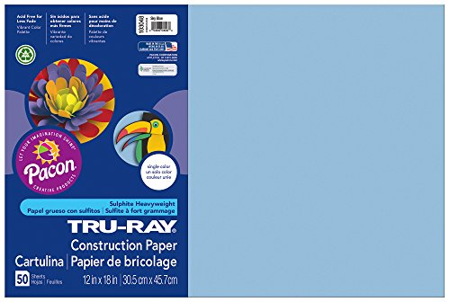 Pacon Tru-Ray Construction Paper, 12-Inches by 18-Inches, 50-Count, Sky Blue (103048)