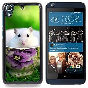 Eason Shop / Premium SLIM PC / Aliminium Casa Carcasa Funda Case Bandera Cover - Ratón lindo del verano blanco del animal doméstico dulce - For HTC Desire 626
