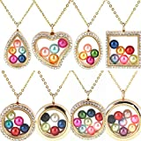 Dainashi 8pcs Different Style Pearl Glass Cages Lockets Pendant Floating Necklace for Women with Chain and Beads (8 pcs Style Gold)