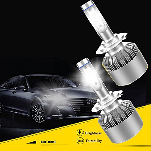 Led Headlight Bulbs, VKOSHA Headlamps Conversion Kits, All In One Plug And Play COB Chips, Waterproof 72W 6500K Cool White Light 2pcs (One Set)