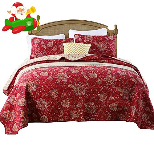 (Luxury Floral Quilt Coverlet Set King Vintage Burgundy Quilt Bedspread Set Cotton Flower Print Revesible Quilt Set1 Quilt Coverlet with 2 Pillow Shams for Girls Adults Ultra Soft King Size)