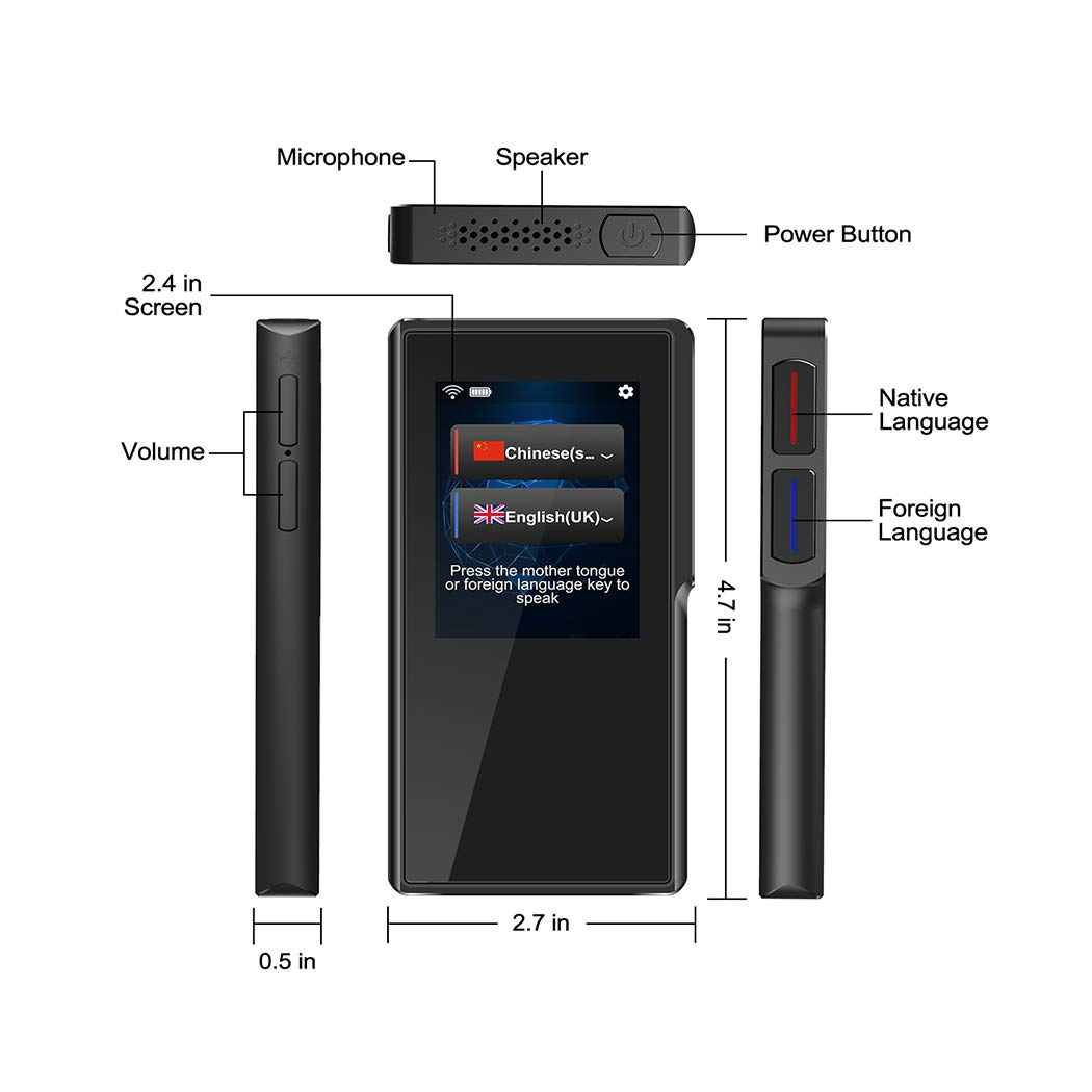 Translator Device with 2.4 Inch High Definition Toch Screen Support 70 Languages Smart Voice for Travelling Abroad Learning Off-Line Shopping Business Chat Recording Translations by Duteri (Image #2)