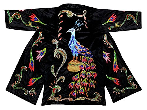 gorgeous beadwork special uzbek beaded handmade embroidered robe caftan coat long jacket chapan b1176 by East treasures