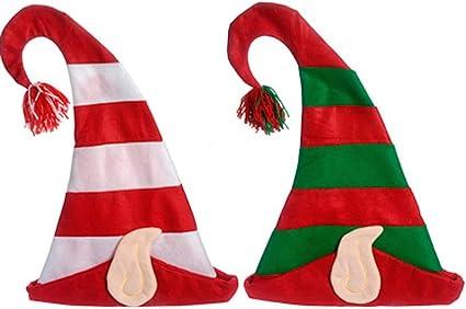 Christmas Felt Santa Elf Helper Ears Red Green Stocking Costume Holiday Cap Hat