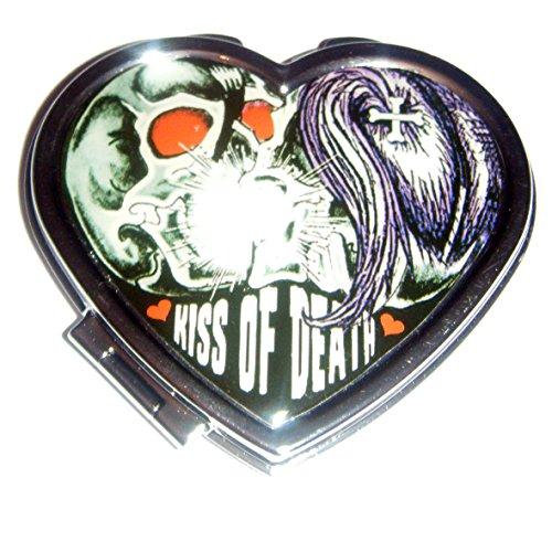 Kreepsville 666 Kiss of Death Heart Compact Mirror (Goth Halloween Makeup)