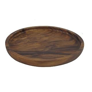 PLATO REDONDO DE MADERA RÚSTICO Ø 20 25 30 CM - MADERA DE ACACIA - COMERCIO JUSTO (Ø 20cm) Holzwaren Fairtrade