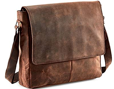Touch of Leather 15 Inch Genuine Buffalo Leather Messenger Bag in Vintage Style Leather Satchel School Women Handbag Colled Crossbody Bag