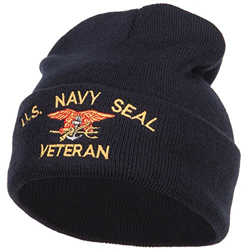 US Navy Seal Veteran Military Embroidered Long Beanie - Navy OSFM (Navy Seal Beanie Hat)