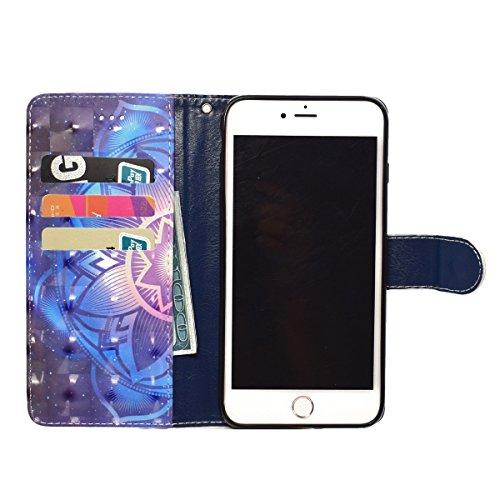 Funda iPhone 7 Plus,SainCat Funda de cuero sintético tipo billetera con correa de cordón de Suave PU Carcasa Con Tapa y Cartera,Soporte Plegable,Ranuras para Tarjetas y Billetera Funda de Flip Ranuras Mandala