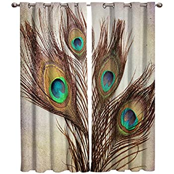 Edwiinsa Peacock Kitchen Blackout Curtains Window Drapes Treatment, 2 Panels Set for Kitchen Cafe Office, Macro Peacock Tail Feather Like Third Eyes Vitality New Life, 80W x 63L inch