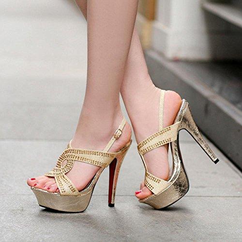 Women TAOFFEN Stiletto Slingback Gold Sandals Aq0x0dwHr