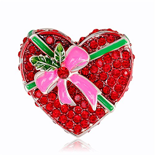 Reizteko Christmas Brooch Xmas Wreaths Snowman Snowflake Santa Candy Cane Brooch Pin (Candy Hearts Wreath)