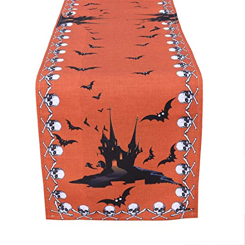 Simhomsen Halloween Table Runner for Dinner Party and Scary Movie Nights, Featured Printed Spooky Skull, Bats and Haunted House (16 × 54 inch)