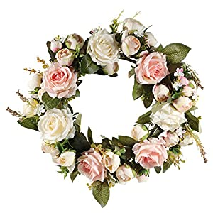 Adeeing Handmade Floral Artificial Simulation Peony Flowers Garland Wreath for Home Party Decor Pink 2