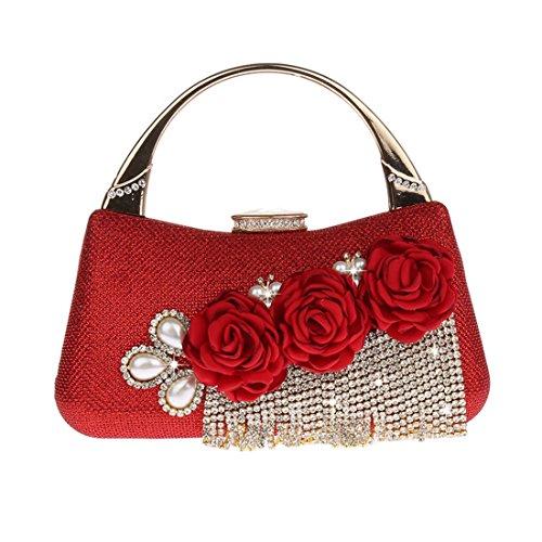 Mujer Boda Flores Bolso Señora Cartera Mano Kaxidy Rojo De Bolsos xOAq8Z5w