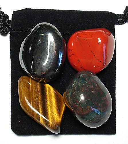The Magic Is In You Manifest Protection Tumbled Crystal Healing Set with Pouch & Description Card - Bloodstone, Hematite, Jasper, Tiger's Eye