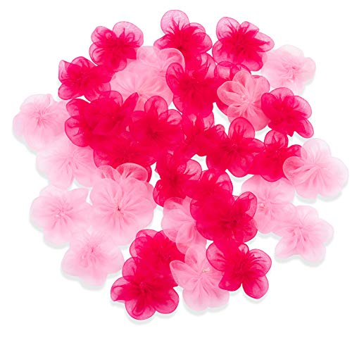 Craft Flowers - 50-Pack Chiffon Flower Embellishments, 1.4-Inch Chiffon Fabric Flowers for Craft, DIY Wedding Decorations, Ornaments, Light Pink and Hot ()