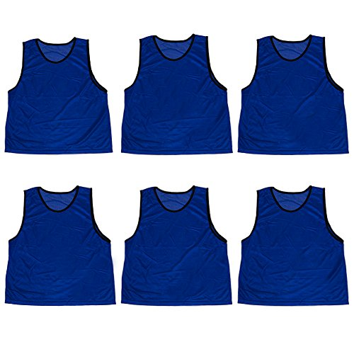 - Pack of 6 Adult Size Sports Scrimmage Pinnies with Mesh Storage Bag by Crown Sporting Goods (Dark Blue)