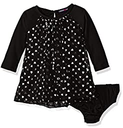 Limited Too Girls\' Long Sleeve Confetti Heart Knit Dress, Black, 12M