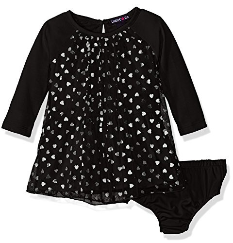 Limited Too Baby Girls' Long Sleeve Confetti Heart Knit Dress, Black, 12M