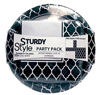"Sturdy Style Party Pack Paper Plates and Napkins, 18 Plates (10"") and 36 Napkins, Le Vin Noir Black (B00869UY1M) 