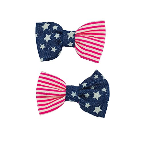 Lux Accessories Canvas Stars & Stripes Americana 4th Of July Flag Hair Clip Set (4th Of July Hair Accessories)