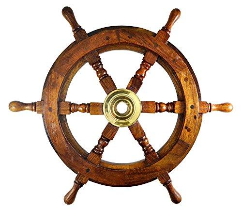 Ship Wheel Ships Steering Wheel Boat Wheel Pirate Ship Wheel Captains Wheel Nautical Decor Wooden Ship Wheel (18 inch Dia)